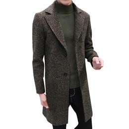 2020 figuras de invierno Caliente Diseño de Moda de Alta Calidad de Los Hombres Formales Un solo Pecho Chascar Abrigo Chaqueta de Lana Larga Outwear Plus Abrigo de Invierno de Los Hombres nuevos figuras de invierno baratos