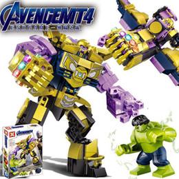Jouets abs en Ligne-Avengers Endgame Enfants blocs de construction Iron Man Hulk Thanos Iron Patriot ABS Jouets Figure Building Block Assebmle Block