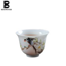 2019 chá de aves 60cc estilo chinês Porcelana Teacup Jingdezhen Mão pintada Padrão Pássaro da flor Teaware Mestre Tea Bowls Sake presente de aniversário Cups desconto chá de aves