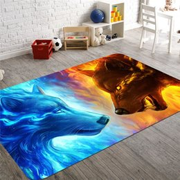 Giallo corallo online-3D Animal Wolf Area Rug antiscivolo Assorbente Coral Velvet Floor Tappeto Zerbino Soft Baby Playing Carpets per Living Indoor