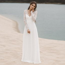 12007c89a8136 Cheap Lace Chiffon Beach Boho Wedding Dresses A Line New 2019 Sexy Open Back  Bohemian Bridal Gowns Long Sleeves Country Engagement Dress