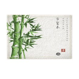 Porta di bambù online-Green Plant Decor, Asian Watercolor Painting Tappeti da bagno in bambù, tappetino antiscivolo