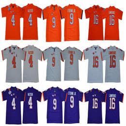 NCAA Men Clemson Tigers 16 Trevor Lawrence 4 Deshaun Watson 9 Travis  Etienne Jr. 7 Austin Bryant Orange Purple White College Football Jersey ae0a51739
