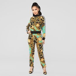 Estilos de ropa femenina casual online-2 Unids Para Mujer Diseñador de Estilo Deportivo Chándales de Cuello de Solapa de Manga Larga Ropa Femenina Moda Fresca Ropa Casual