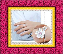 fiori dolci Sconti Argento sterling 925 Fiore Ciliegina fiore viola viola romantico San Valentino Anello regolabile Donna Dolce Anelli Regalo festa della mamma