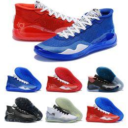 Kd blu scarpe da basket online-Kevin Durant KD XII 12 Che cosa le scarpe Blu Rosso Nero Argento All Stars formazione di basket per la Mens 12s Designer Sport Sneakers 7-12
