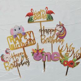 flores dos presentes do feliz aniversario Desconto Colorido Acrílico Unicórnio Flamingo Elefante Flor