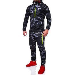 survêtement camo Promotion 2019 Camouflage Jacket Set Hommes Camo Imprimé 2 Pc Sportwear Survêtement Survêtement Haut Pantalon Costumes À Capuche À L'extérieur Manteau Pantalon De Printemps