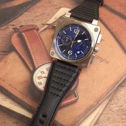 135a3bc2 черные кожаные серебряные часы Скидка Горячие Продажи BR Aviation Heritage  Хронограф Кварцевые Мужские Часы BR0394 Diver