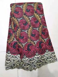 Nigerianische afrikanische frauen kleider online-Stickerei Polyester Spitzenstoff mit viel entsteint 5 Meter hohe Qualität afrikanisches Spitzegewebe für nigerian Frauenkleider bf0054
