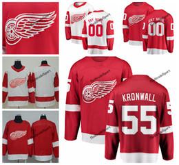 Kronwall hóquei camisas on-line-2019 Detroit Red Asas Niklas Kronwall Hóquei Jerseys Mens Nome Personalizado Casa Red # 55 Niklas Kronwall Costurado Camisas de Hóquei S-XXXL