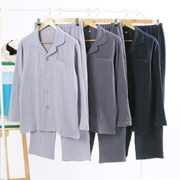 camisas de gaze homens Desconto New Mens Duplo Crepe Gauze Pajama sólido conjunto de algodão Long Shirt Pijamas manga comprida Camisola Men Pijamas Big Size Pijamas