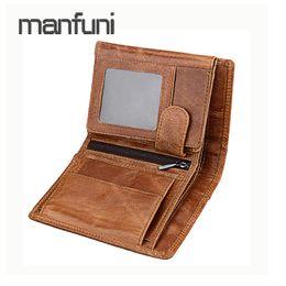 39fcc1207ceb3 Four Fold Design Men Wallet Genuine Leather Short Thin Wallet Fashion Male  Purse Card Holder Cartera Hombre Small RFID