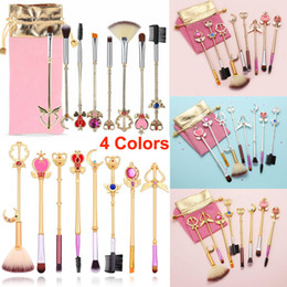 sailor moon set Coupons - Makeup Brushes Sailor Moon set Cardcaptor Sakura Cosmetic Brushes 8pcs Gold Cute Brush Face Eye Shadow Eyeliner Foundation Blush Pink Pouch