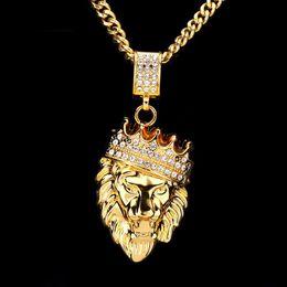 оптовая золотая льва Скидка Мужчины Хип-Хоп Jewelry2018 Новый Оттаявшим Золотом Мода Bling Львиная Голова Кулон Мужчины Ожерелье Золото Заполненные Для Мужчин Женщин Подарок Оптовая