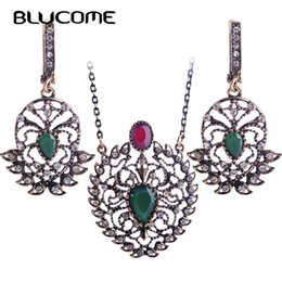 resin heart large Coupons - heap Jewelry Sets Blucome Turkish Green Flower Necklace Earrings Set Large Pendant Jewelry Sets Resin Bijoux For Women Lady Wedding Acces...