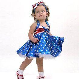 día de ropa casual Rebajas Girls Star Striped Dress Verano Niños bandera americana Día de la Independencia Sling Backless Princesa Dress Kids Headband Ropa C51