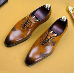2019 sapatos confortáveis para homens Novos Homens Elegantes Sapatos Formais Vestido Borboleta Impressão Dedo Apontado Confortável Partido Prom Sapatos desconto sapatos confortáveis para homens