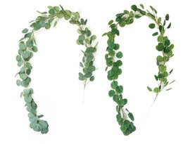 viñas de decoración verde Rebajas Artificial verde vides de eucalipto ratán artificial plantas falsas hiedra corona decoración de la pared jardín vertical decoración de la boda
