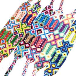 2019 fios de moda Pulseira trançada Moda Boêmio Nacional Handmade Rainbow Pulseira Infinito Pulseira Sorte Amizade Mão Strap Barato Trança Cord Strand desconto fios de moda