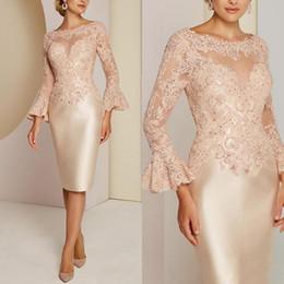 2019 vestiti dalla sposa della madre rosa della perla Pizzo classico madre della sposa abiti manica lunga perline abito da sposa abiti da donna personalizzati abiti da sera plus size