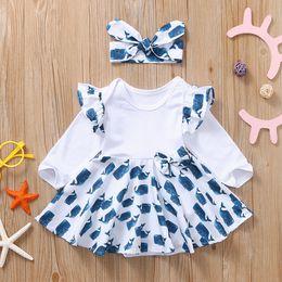 2019 karikaturdruckkleidmädchen Infant Baby Long Sleeve Cartoon Print Romper Bodysuit Minikleid + Print Stirnband Fashion Outfit Set Herbst-Kleidung 2019 2Pcs günstig karikaturdruckkleidmädchen