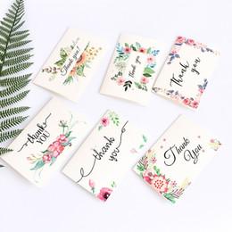 Mini tarjetas de agradecimiento online-Con sobre Papel para escribir Invitaciones Estampado de flores Mini Tarjeta de felicitación Carta en inglés Gracias Tarjetas de bendición Delicadas 3 4zd BB