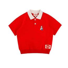 Estilo coreano da forma do verão dos meninos on-line-Enkelibb Moda Bebê Meninos Verão T-shirt E Calças Coreano Bebê Bebe Crianças Tops Número 25 Estilo Ativo Camisa Cor Vermelha Crianças Y19051003