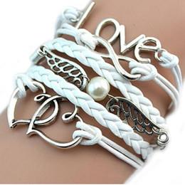 2020 pulseiras de amizade infinito trançado desenhador Mulheres pulseiras Vintage Estilo Amor Infinito Amizade Multilayer couro sintético fecho da lagosta pulseira trançada Branco desconto pulseiras de amizade infinito trançado