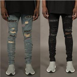 2019 denim scuro denim uomini Autumn Fashion Jeans per gli uomini con fori rotto Designer Cerniere Jeans Skateboard matita Biker pantaloni del denim