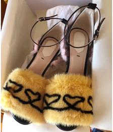 plus hauts talons Promotion Nouveau bonne qualité chaussures à talons hauts femmes bien avec le défilé de cheveux de vison de l'eau Chaussures sexy femmes sandales de fourrure Parti