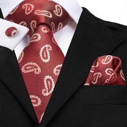 2019 disegni di natale Hi-Tie ultimo disegno Mens Tie in vendita di alta qualità gemelli Hankerchief Tie Set per gli uomini di nozze di Natale N-3124 disegni di natale economici