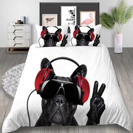 Set biancheria da letto di musica online-Set di biancheria da letto stampata in cartone animato King Size Semplice cane che ascolta la musica 3D Copripiumino Queen Home Deco Matrimoniale Copripiumino singolo con federa