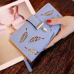 Damen Mädchen PU Geldbörsen Mini Kartenhalter Geldbörse Brieftasche Hohl Blatt D