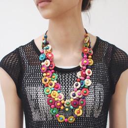 Böhmische ethnische Schmuck handgefertigte Perlen Kokosnussschale Holzperle Anhänger Halsketten Frauen hängen lange Halskette Aussage von Fabrikanten