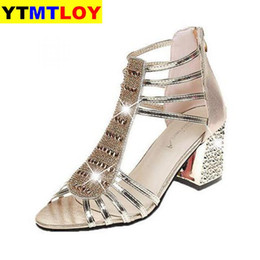 2020 New Women Wedding Shoes Ankle Boots Sandal Open Toe High Heels Dress Bling Pump Silver Gold Sandals Peep Toe Chunky Heels