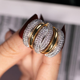 anillos llenos de plata Rebajas Anillo de dedo de cóctel de plata grande para mujer Chapado en oro de lujo 238 piezas Pintura de diamante simulado Anillo de piedra completa Tamaño de la joyería 5-10