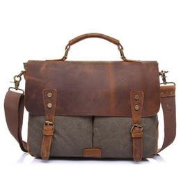 Bolso de cuero genuino de la vendimia hombres maletín bolsa de mensajero bolsa de hombro del ordenador portátil masculino de viaje Crazy Horse cuero Crossbody desde fabricantes