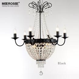 Lustre de ferro preto vintage on-line-Modern Chandelier aparelho de iluminação de cristal Vintage Pendant Light ferro forjado Branco Chrome Preto candelabro na sala de estar Loft