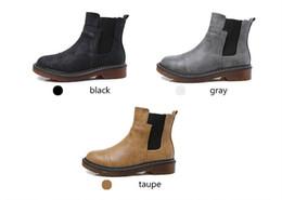 Botines británicos online-Zapatos Mujer Primavera Invierno Martin botas de cuero de la PU tacones gruesos tobillo bota corta estilo británico motocicleta Casual Plataforma nieve Botas C92604