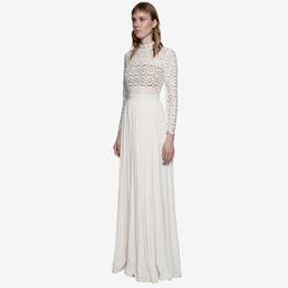 2019 sopra il collare del vestito dall'abito Abiti da sera per banchetti con collo alto a manica lunga in pizzo scava fuori abito da cerimonia formale bianco con spacco esterno