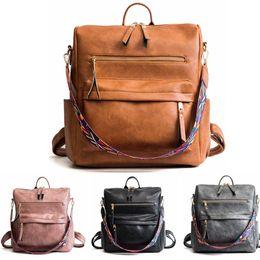 mochila multifunción bandolera Rebajas Las mujeres de la PU mochila monedero mochila impermeable del hombro de Crossbody del bolso mochilas escolares multifunción LJJA3484