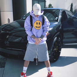 Wholesale viola Justin Bieber Drew House Felpa con cappuccio da uomo donna di alta qualità moda viso felpe con cappuccio invernale pullover