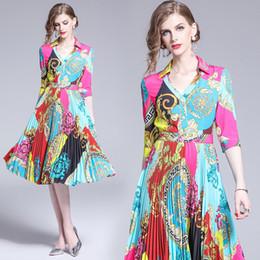 2019 sexy vestidos de talla mediana más largos Vestido de fiesta Multiclor Estampado estilo francés Midi Partido de las mujeres por la noche Fiesta de cóctel de moda con encanto New Look vestidos plisados 6256