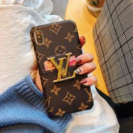 max chocolats Promotion Cas de téléphone de concepteur de luxe en gros pour iphone 6/7 / 8plus XS MAX / XR en cuir PU avec support et fente pour carte carrée Cas de téléphone de concepteur