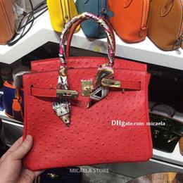 bolsos de cuero de avestruz Rebajas Diseño de lujo bolsos monederos para mujer bolsas de mano 2020 de manera femenino de Berkin duro de avestruz en relieve de cuero genuino bolso de las señoras bolsos de mano