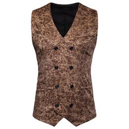 2019 terno preto da marinha sob medida Leopardo Mens Terno Coletes Sem Mangas Casuais Mens Outerwear Com Botão Masculino Vestuário