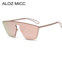 Reflektierende hochwertige sonnenbrille online-ALOZ MICC Hohe Qualität Frauen Sonnenbrille Markendesigner Luxus Cat Eye Beschichtung Spiegel Sonnenbrille Reflektierende Shades A090