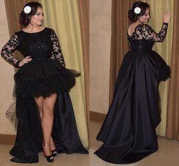 2019 vestido negro bajo delantero Sexy Negro Tallas grandes Vestidos de fiesta por la noche Alto Cuello escarpado Mangas largas Frente corto Largo de encaje Satinado Una línea Vestidos formales rebajas vestido negro bajo delantero