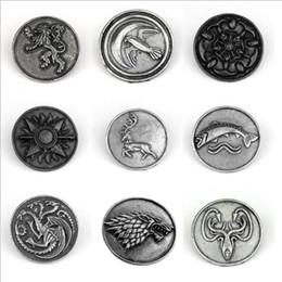 badges incendie Promotion Chant de glace et de feu Game of thrones Famille broche pins Haute qualité Vintage rétro badge Robe Accessoire Film Bijoux